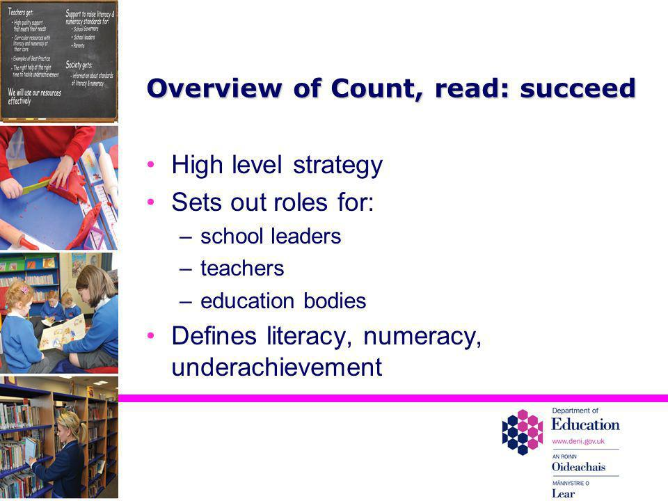 Overview of Count, read: succeed High level strategy Sets out roles for: –school leaders –teachers –education bodies Defines literacy, numeracy, under