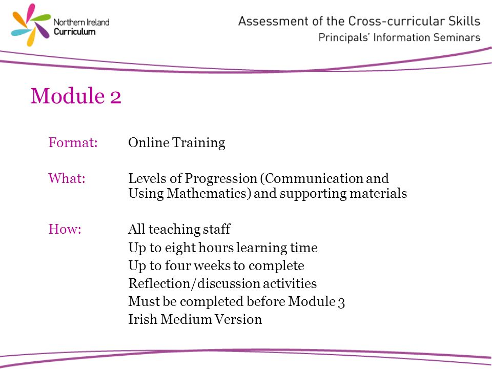 Module 2 Format: Online Training What:Levels of Progression (Communication and Using Mathematics) and supporting materials How:All teaching staff Up to eight hours learning time Up to four weeks to complete Reflection/discussion activities Must be completed before Module 3 Irish Medium Version