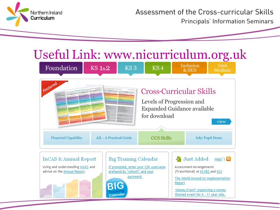 Useful Link: www.nicurriculum.org.uk