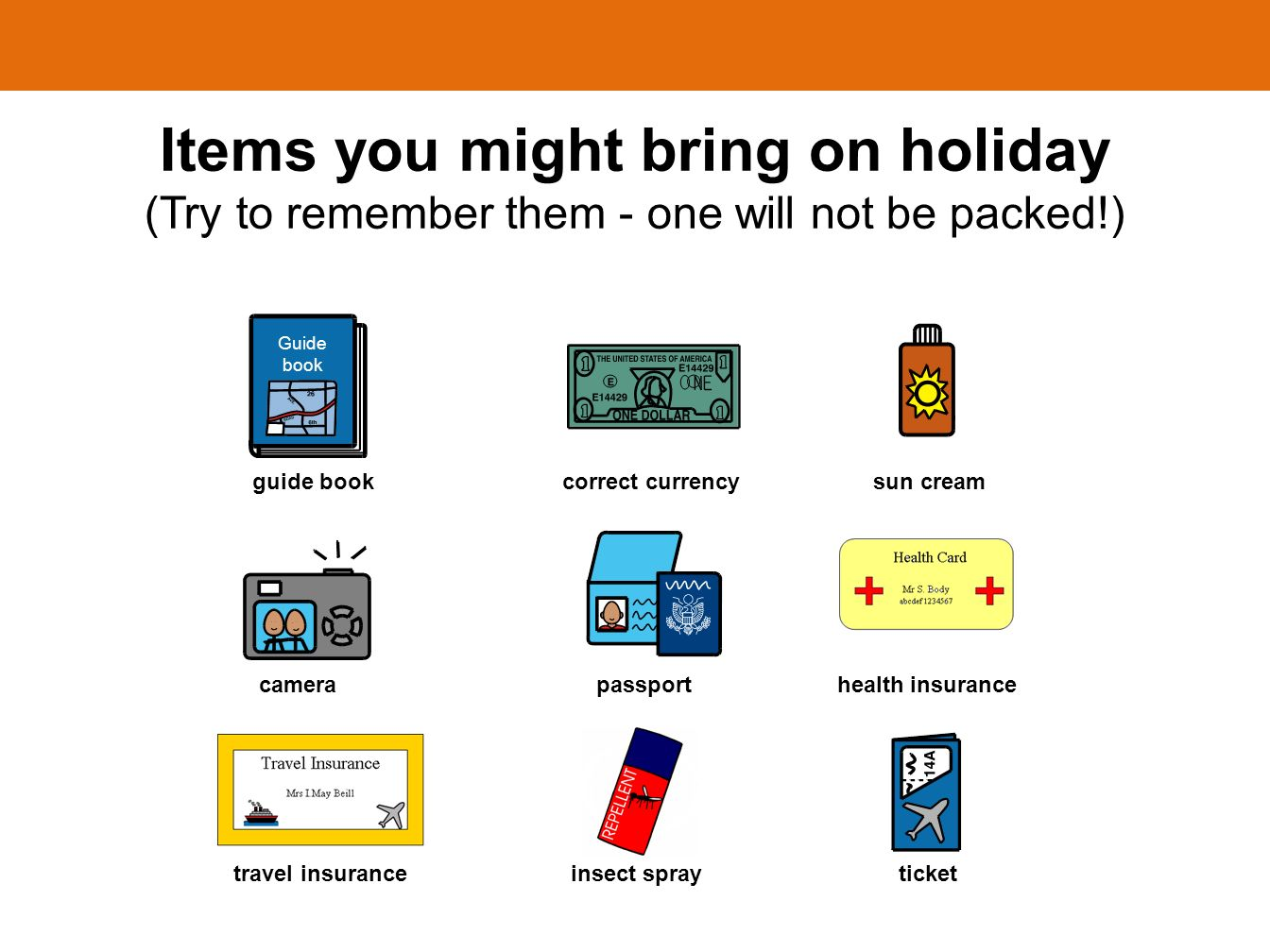 Items you might bring on holiday (Try to remember them - one will not be packed!) guide book correct currency sun cream Guide book camera passport health insurance travel insurance insect spray ticket