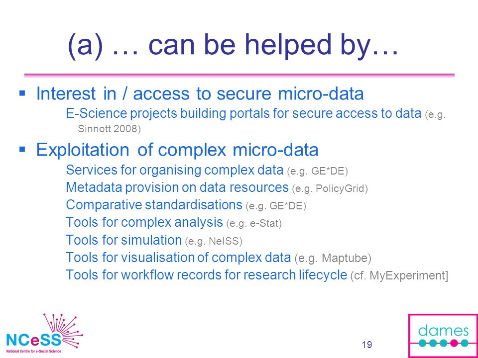 19 (a) … can be helped by… Interest in / access to secure micro-data E-Science projects building portals for secure access to data (e.g. Sinnott 2008)