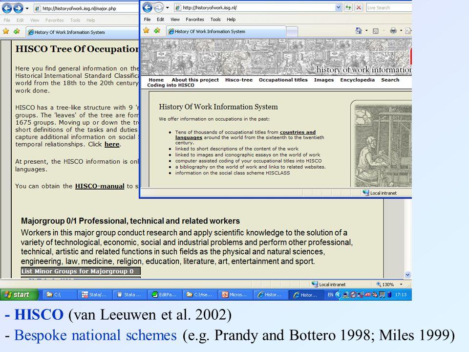 Recording occupational titles - HISCO (van Leeuwen et al. 2002) - Bespoke national schemes (e.g. Prandy and Bottero 1998; Miles 1999)