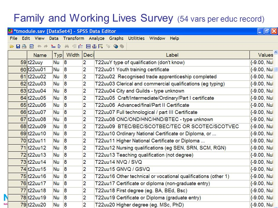 11 Family and Working Lives Survey (54 vars per educ record)