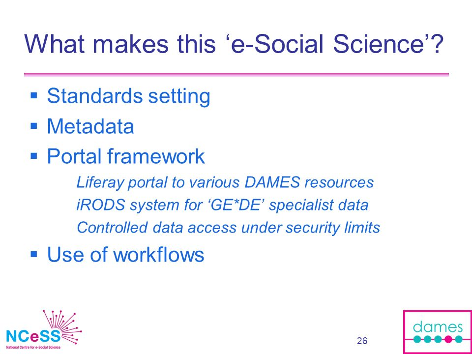 27 E.g. of GEODE v1: Organising and distributing specialist data resources (on occupations)