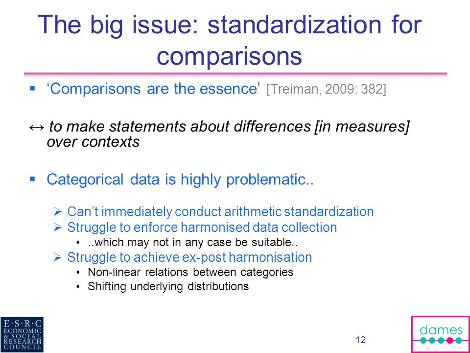 12 The big issue: standardization for comparisons Comparisons are the essence [Treiman, 2009: 382] to make statements about differences [in measures] over contexts Categorical data is highly problematic..