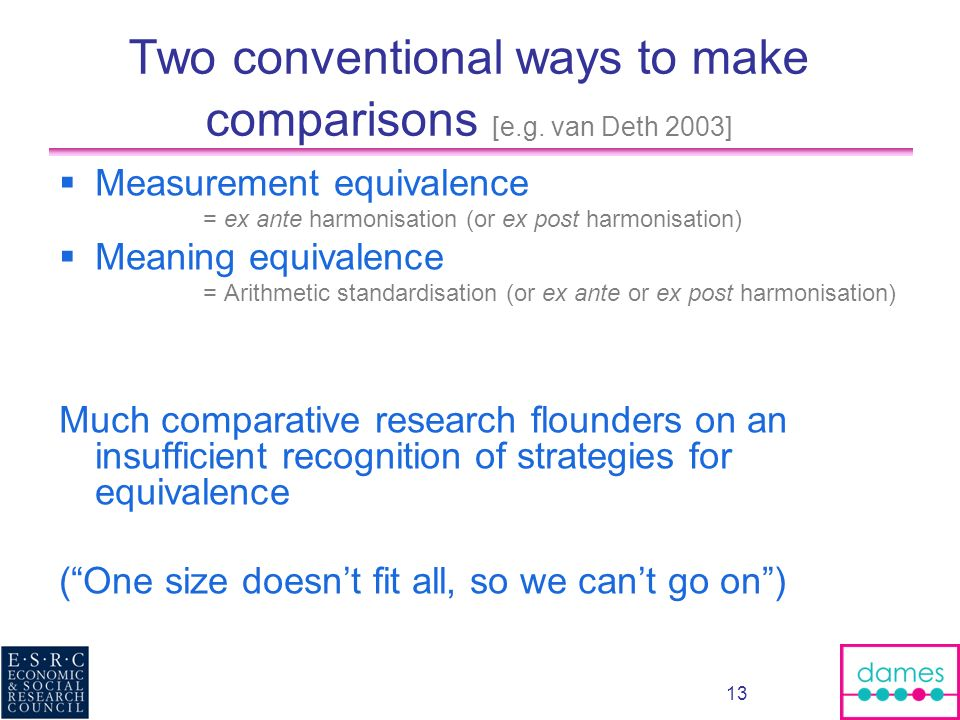 13 Two conventional ways to make comparisons [e.g. van Deth 2003] Measurement equivalence = ex ante harmonisation (or ex post harmonisation) Meaning e