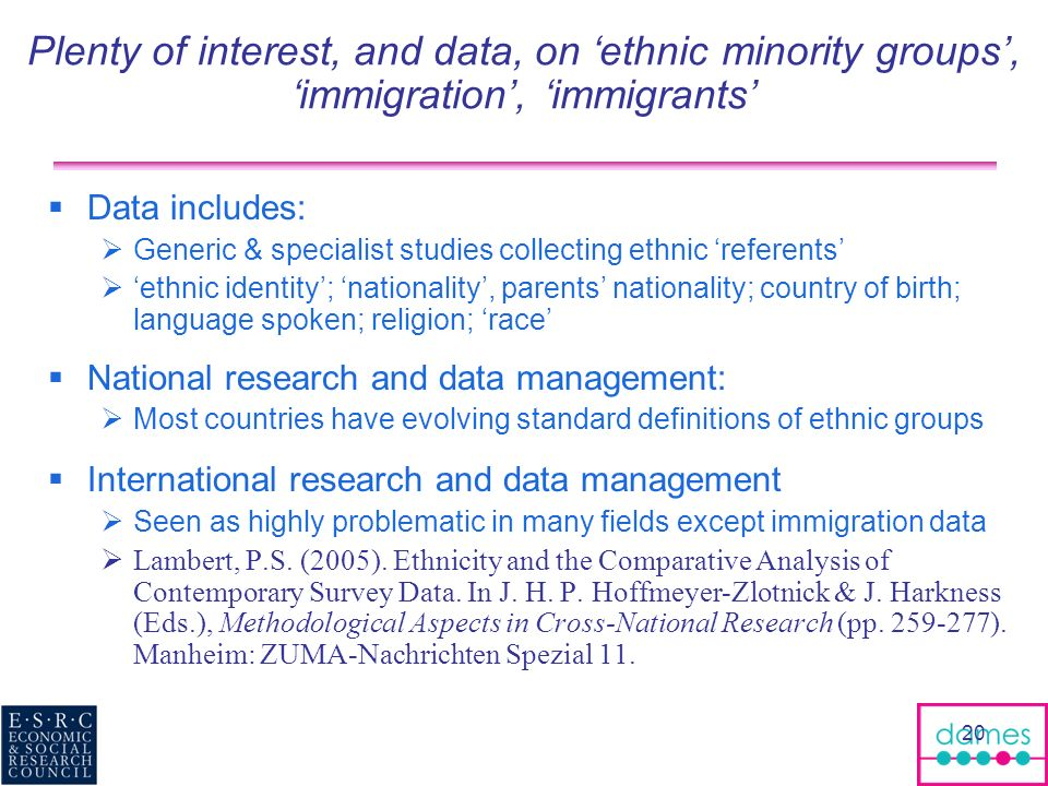 20 Plenty of interest, and data, on ethnic minority groups, immigration, immigrants Data includes: Generic & specialist studies collecting ethnic referents ethnic identity; nationality, parents nationality; country of birth; language spoken; religion; race National research and data management: Most countries have evolving standard definitions of ethnic groups International research and data management Seen as highly problematic in many fields except immigration data Lambert, P.S.