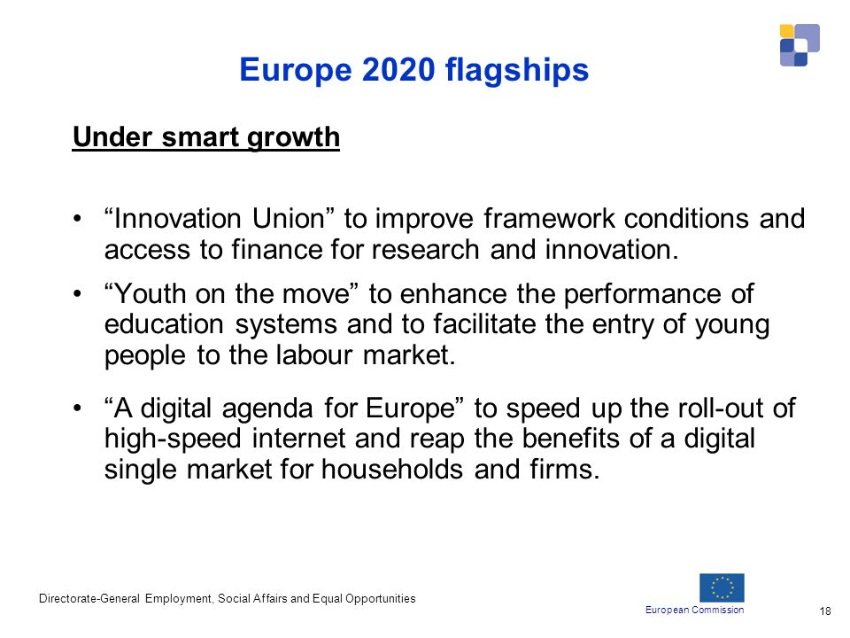 European Commission Directorate-General Employment, Social Affairs and Equal Opportunities 18 Europe 2020 flagships Under smart growth Innovation Union to improve framework conditions and access to finance for research and innovation.