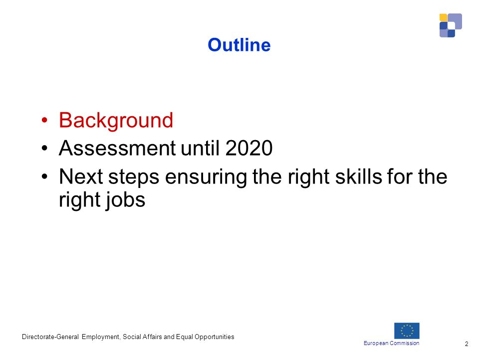 European Commission Directorate-General Employment, Social Affairs and Equal Opportunities 2 Outline Background Assessment until 2020 Next steps ensuring the right skills for the right jobs