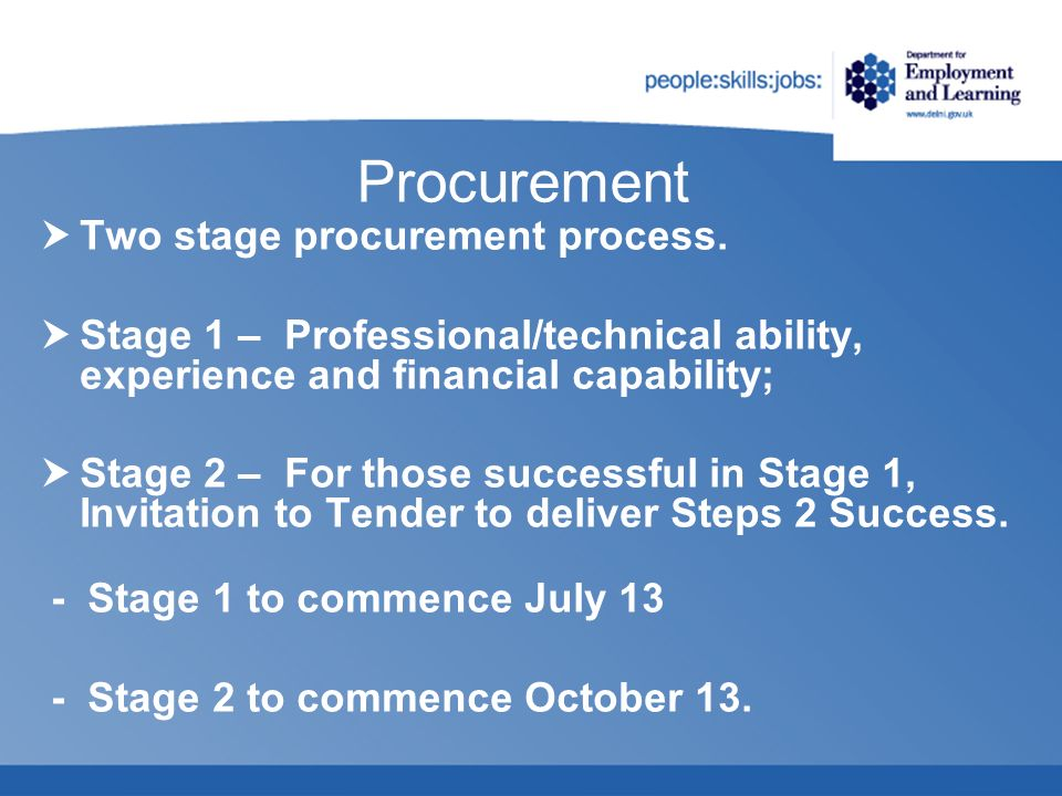 Procurement Two stage procurement process. Stage 1 – Professional/technical ability, experience and financial capability; Stage 2 – For those successf