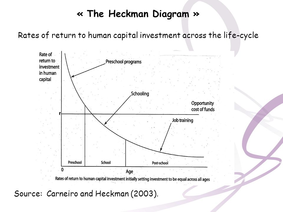« The Heckman Diagram » Rates of return to human capital investment across the life-cycle Source: Carneiro and Heckman (2003).
