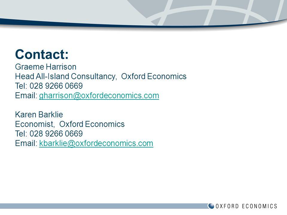 Contact: Graeme Harrison Head All-Island Consultancy, Oxford Economics Tel: 028 9266 0669 Email: gharrison@oxfordeconomics.com Karen Barklie Economist