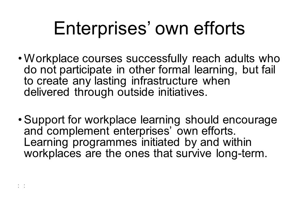 Enterprises own efforts Workplace courses successfully reach adults who do not participate in other formal learning, but fail to create any lasting infrastructure when delivered through outside initiatives.