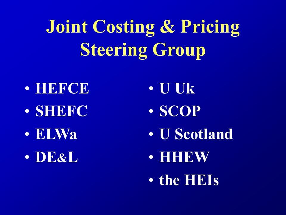 Joint Costing & Pricing Steering Group HEFCE SHEFC ELWa DE & L U Uk SCOP U Scotland HHEW the HEIs