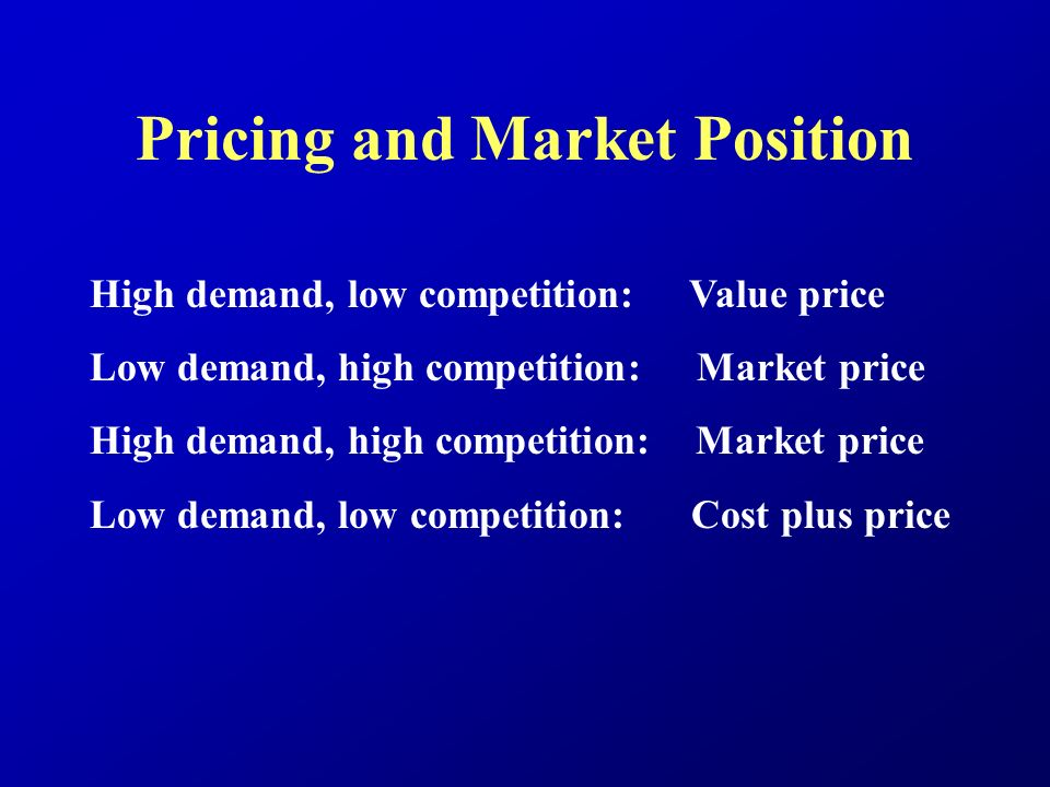 Pricing and Market Position High demand, low competition: Value price Low demand, high competition: Market price High demand, high competition: Market price Low demand, low competition: Cost plus price