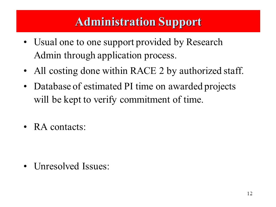 12 Administration Support Usual one to one support provided by Research Admin through application process.