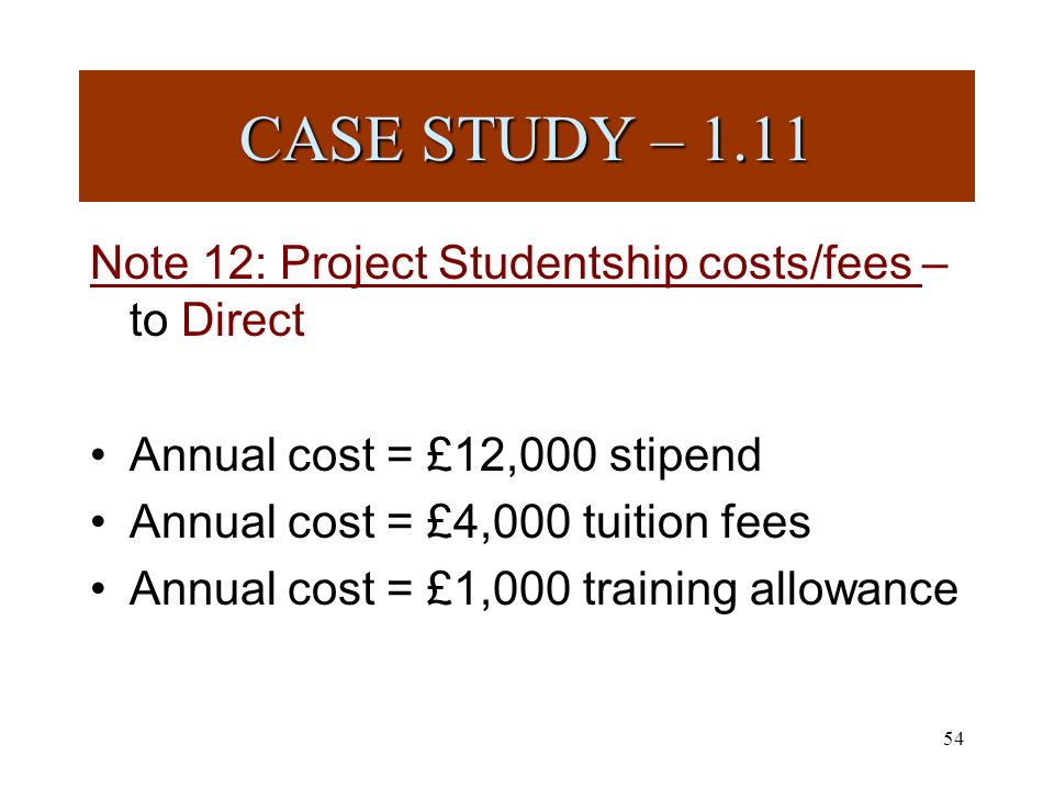 54 Note 12: Project Studentship costs/fees – to Direct Annual cost = £12,000 stipend Annual cost = £4,000 tuition fees Annual cost = £1,000 training allowance CASE STUDY – 1.11