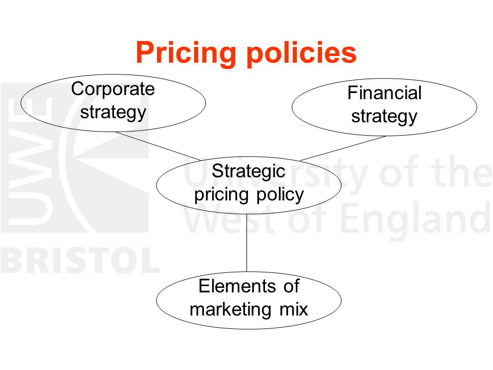 Pricing policies Strategic pricing policy Corporate strategy Financial strategy Elements of marketing mix