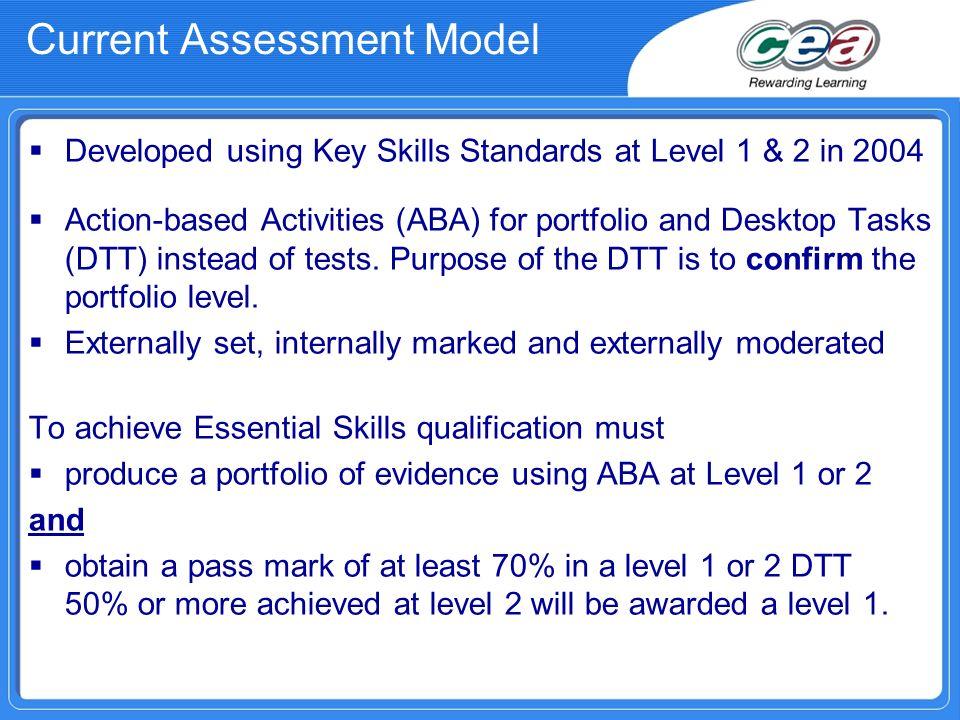 Current Assessment Model Developed using Key Skills Standards at Level 1 & 2 in 2004 Action-based Activities (ABA) for portfolio and Desktop Tasks (DT