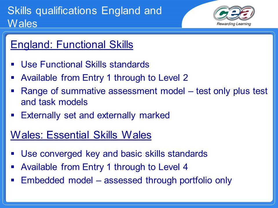 Skills qualifications England and Wales England: Functional Skills Use Functional Skills standards Available from Entry 1 through to Level 2 Range of
