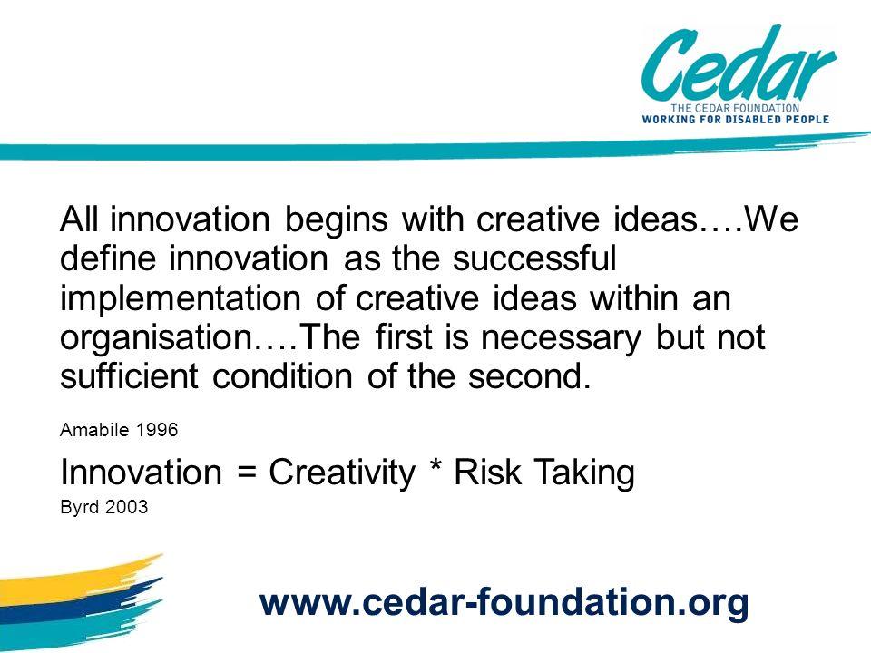 Poor : Leadership Organisation Communication Empowerment Knowledge Management www.cedar-foundation.org Failure to Innovate: Culture OSullivan 2002