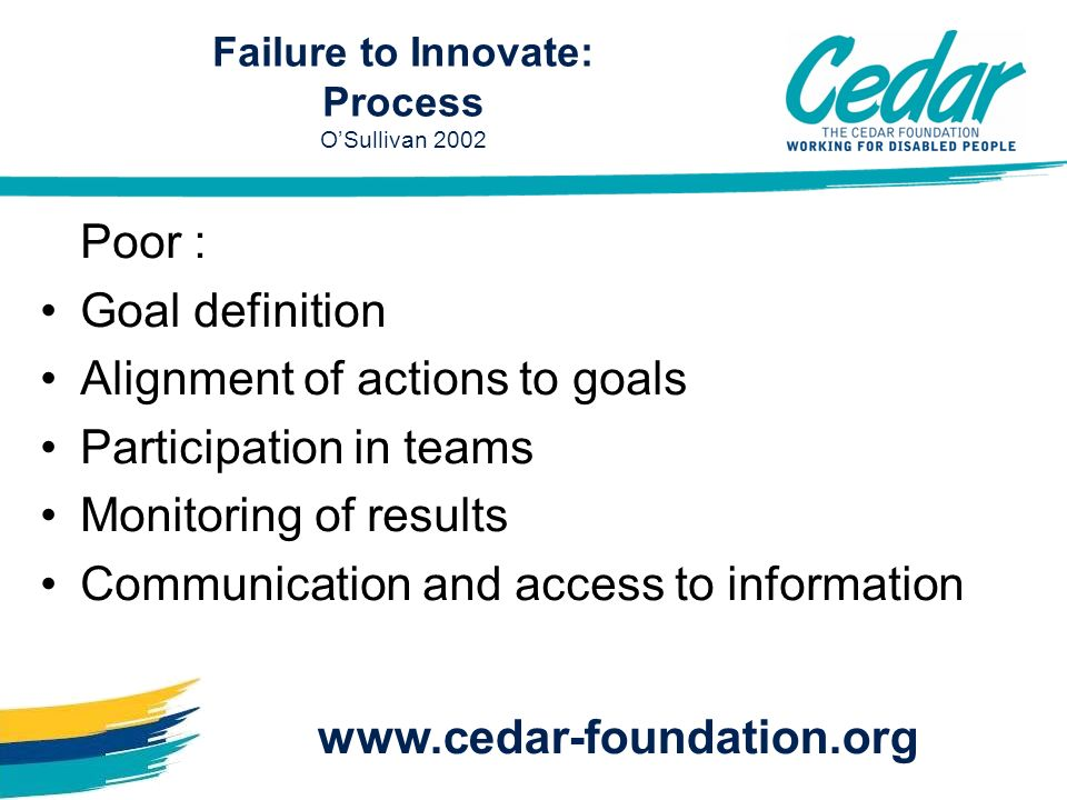 Poor : Goal definition Alignment of actions to goals Participation in teams Monitoring of results Communication and access to information www.cedar-fo