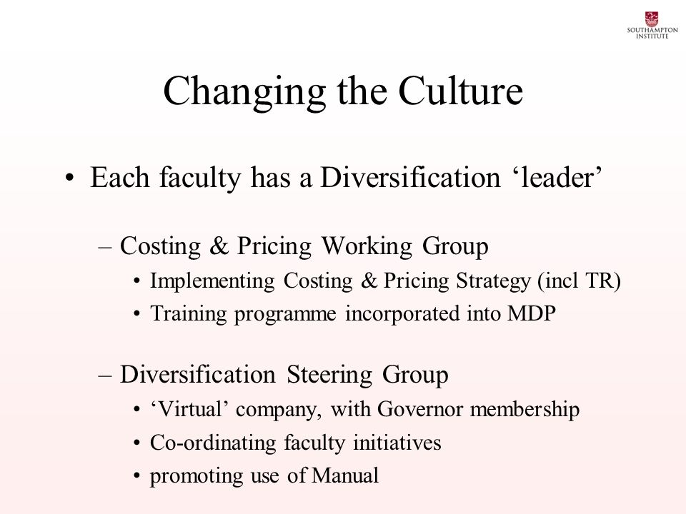 Changing the Culture Each faculty has a Diversification leader –Costing & Pricing Working Group Implementing Costing & Pricing Strategy (incl TR) Training programme incorporated into MDP –Diversification Steering Group Virtual company, with Governor membership Co-ordinating faculty initiatives promoting use of Manual