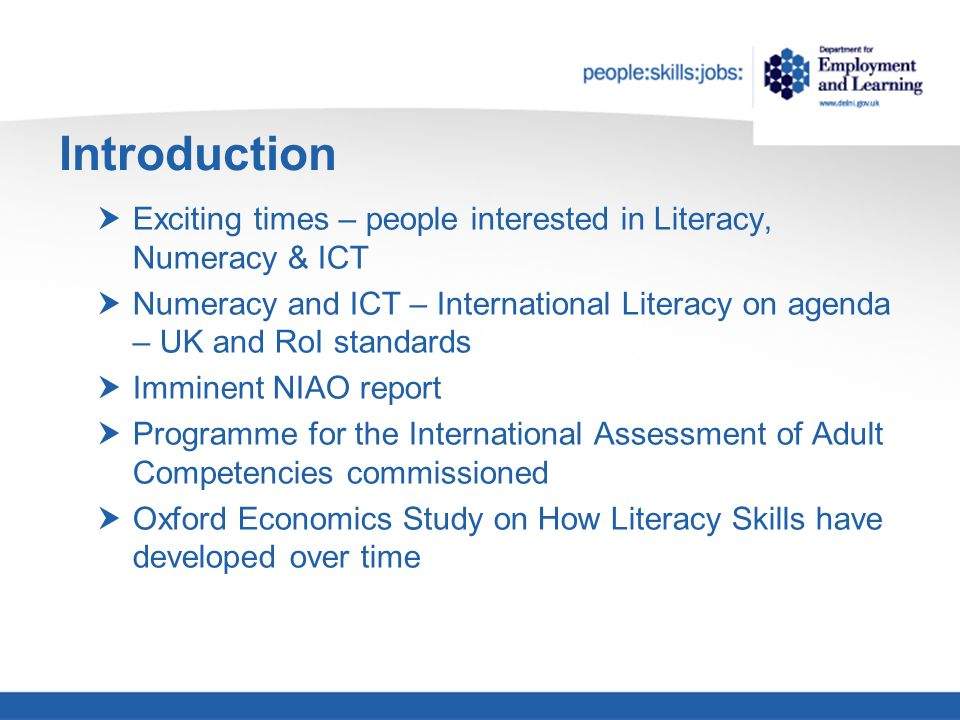 Introduction Exciting times – people interested in Literacy, Numeracy & ICT Numeracy and ICT – International Literacy on agenda – UK and RoI standards Imminent NIAO report Programme for the International Assessment of Adult Competencies commissioned Oxford Economics Study on How Literacy Skills have developed over time