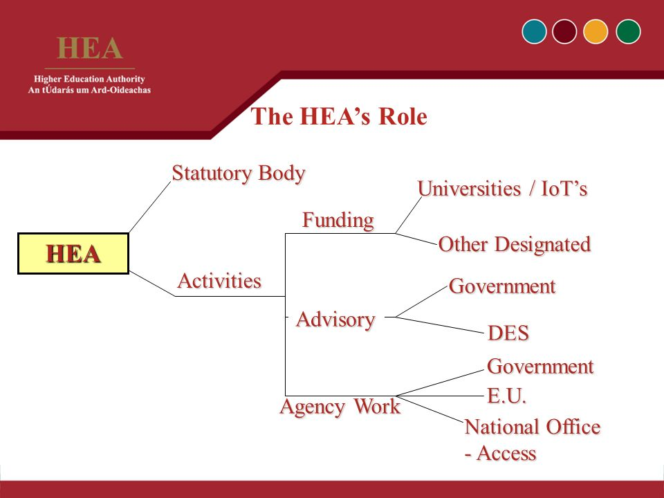 The HEAs Role Statutory Body Other Designated Funding Universities / IoTs HEA DES Government Activities Agency Work Advisory Government E.U.