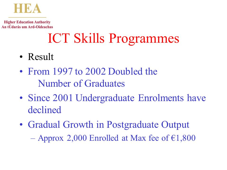 ICT Skills Programmes Result From 1997 to 2002 Doubled the Number of Graduates Since 2001 Undergraduate Enrolments have declined Gradual Growth in Postgraduate Output –Approx 2,000 Enrolled at Max fee of 1,800
