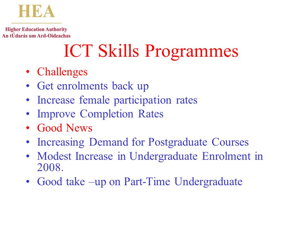 ICT Skills Programmes Challenges Get enrolments back up Increase female participation rates Improve Completion Rates Good News Increasing Demand for Postgraduate Courses Modest Increase in Undergraduate Enrolment in 2008.
