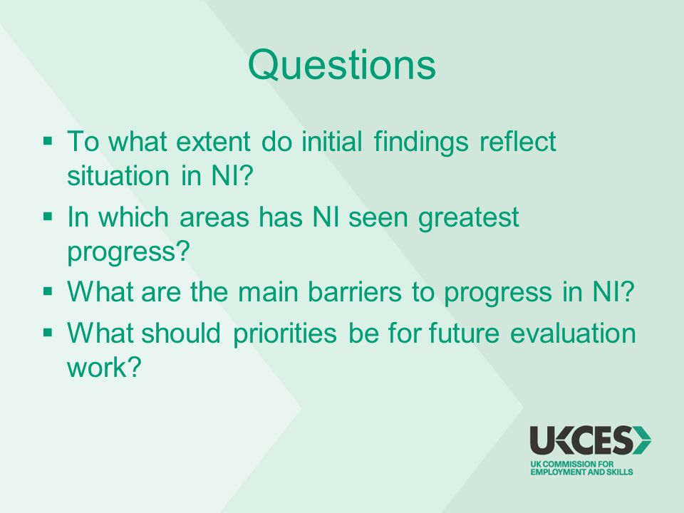 Questions To what extent do initial findings reflect situation in NI? In which areas has NI seen greatest progress? What are the main barriers to prog