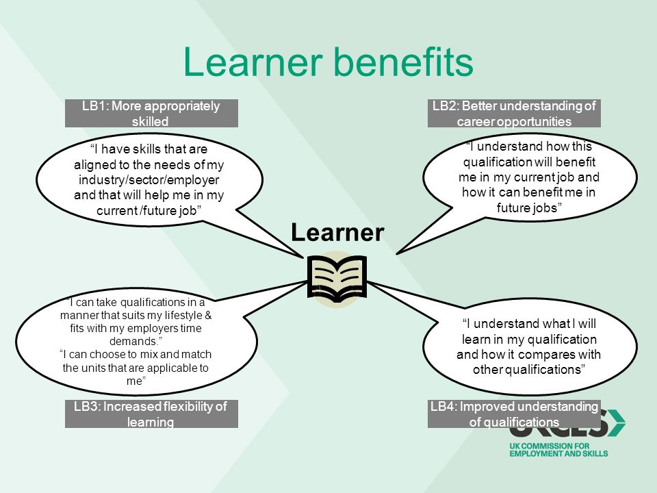 Learner benefits Learner LB1: More appropriately skilled LB2: Better understanding of career opportunities LB4: Improved understanding of qualificatio