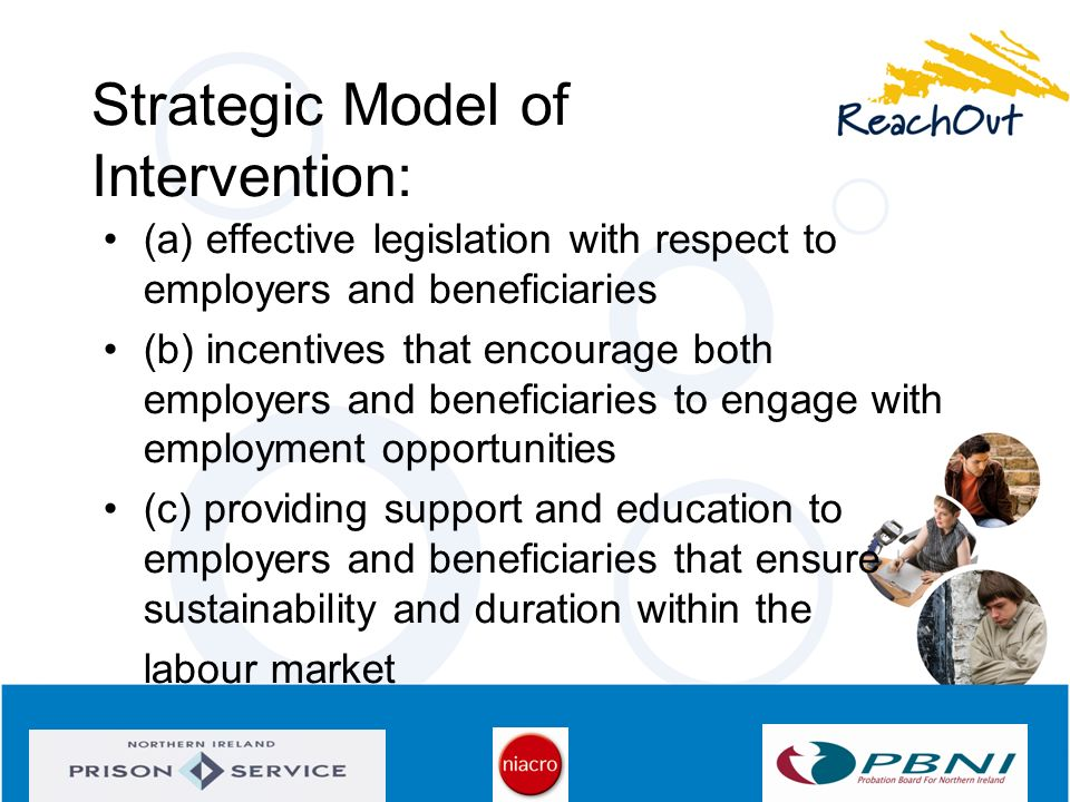 Strategic Model of Intervention: (a) effective legislation with respect to employers and beneficiaries (b) incentives that encourage both employers an