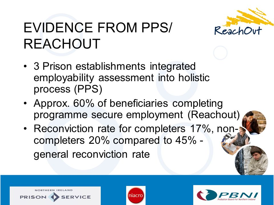 EVIDENCE FROM PPS/ REACHOUT 3 Prison establishments integrated employability assessment into holistic process (PPS) Approx. 60% of beneficiaries compl