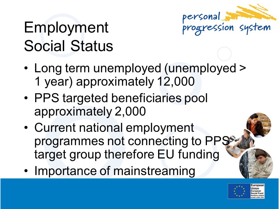 Employment Social Status Long term unemployed (unemployed > 1 year) approximately 12,000 PPS targeted beneficiaries pool approximately 2,000 Current n