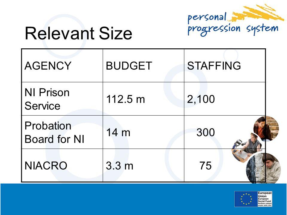 Relevant Size AGENCYBUDGETSTAFFING NI Prison Service 112.5 m2,100 Probation Board for NI 14 m 300 NIACRO3.3 m 75