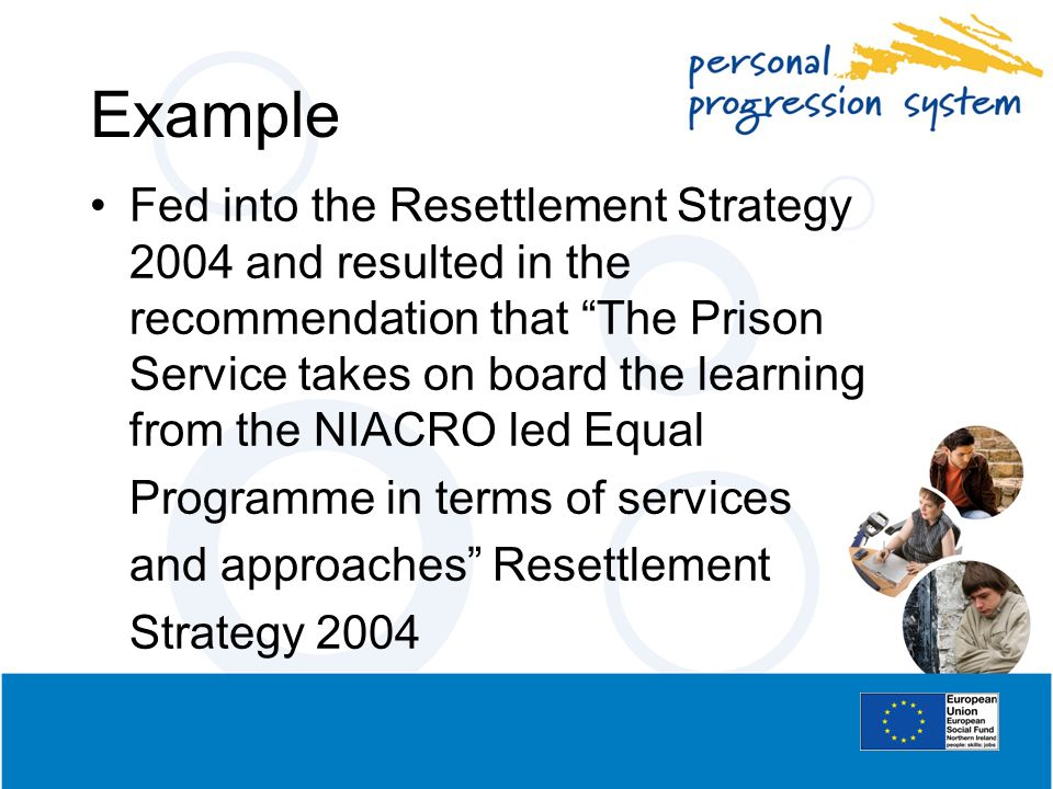 Example Fed into the Resettlement Strategy 2004 and resulted in the recommendation that The Prison Service takes on board the learning from the NIACRO