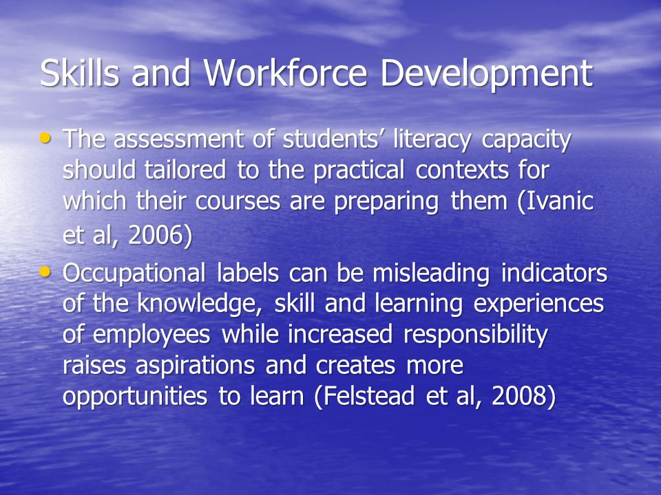 Skills and Workforce Development The assessment of students literacy capacity should tailored to the practical contexts for which their courses are pr