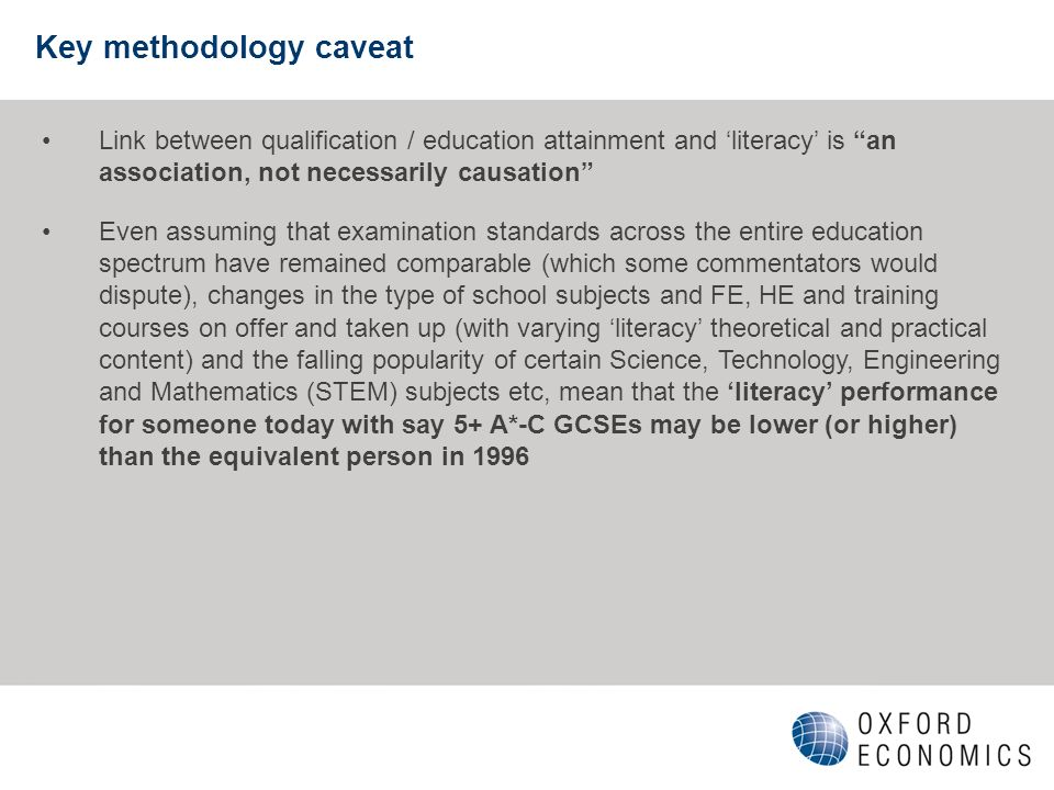 Key methodology caveat Link between qualification / education attainment and literacy is an association, not necessarily causation Even assuming that
