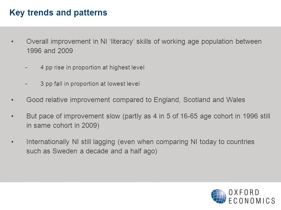 Key trends and patterns Overall improvement in NI literacy skills of working age population between 1996 and 2009 -4 pp rise in proportion at highest level -3 pp fall in proportion at lowest level Good relative improvement compared to England, Scotland and Wales But pace of improvement slow (partly as 4 in 5 of 16-65 age cohort in 1996 still in same cohort in 2009) Internationally NI still lagging (even when comparing NI today to countries such as Sweden a decade and a half ago)
