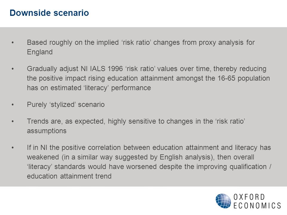 Downside scenario Based roughly on the implied risk ratio changes from proxy analysis for England Gradually adjust NI IALS 1996 risk ratio values over time, thereby reducing the positive impact rising education attainment amongst the 16-65 population has on estimated literacy performance Purely stylized scenario Trends are, as expected, highly sensitive to changes in the risk ratio assumptions If in NI the positive correlation between education attainment and literacy has weakened (in a similar way suggested by English analysis), then overall literacy standards would have worsened despite the improving qualification / education attainment trend