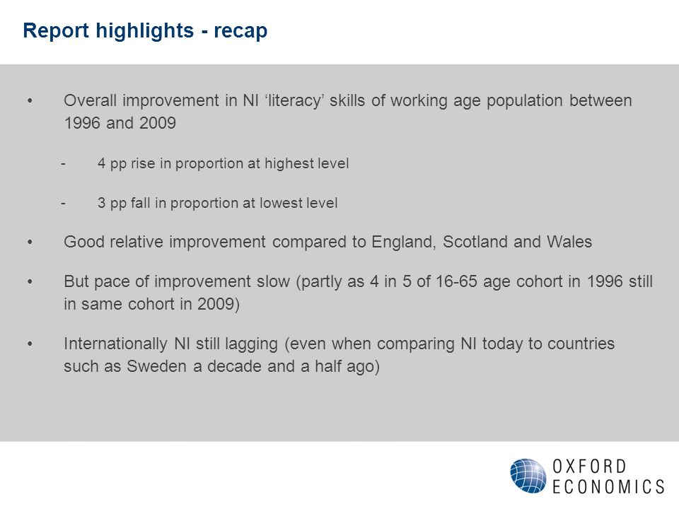Report highlights - recap Overall improvement in NI literacy skills of working age population between 1996 and 2009 -4 pp rise in proportion at highest level -3 pp fall in proportion at lowest level Good relative improvement compared to England, Scotland and Wales But pace of improvement slow (partly as 4 in 5 of 16-65 age cohort in 1996 still in same cohort in 2009) Internationally NI still lagging (even when comparing NI today to countries such as Sweden a decade and a half ago)