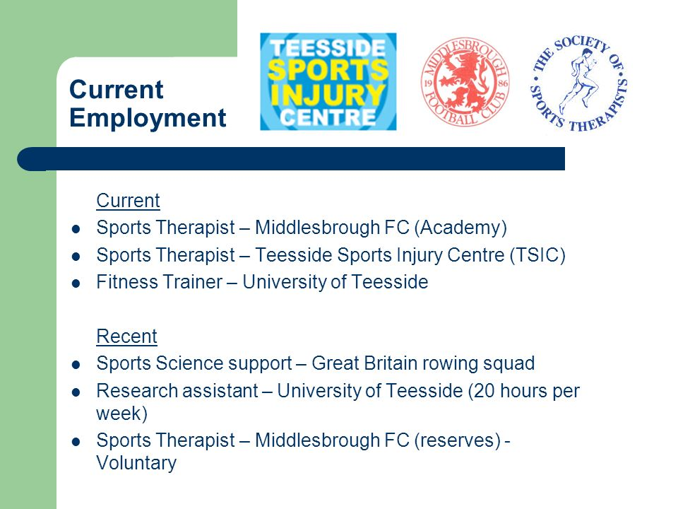 Current Employment Current Sports Therapist – Middlesbrough FC (Academy) Sports Therapist – Teesside Sports Injury Centre (TSIC) Fitness Trainer – Uni