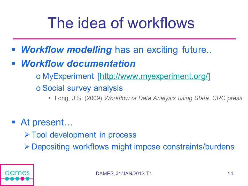 14 The idea of workflows Workflow modelling has an exciting future..