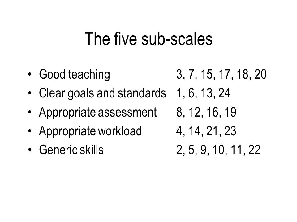 The five sub-scales Good teaching3, 7, 15, 17, 18, 20 Clear goals and standards1, 6, 13, 24 Appropriate assessment8, 12, 16, 19 Appropriate workload4, 14, 21, 23 Generic skills2, 5, 9, 10, 11, 22