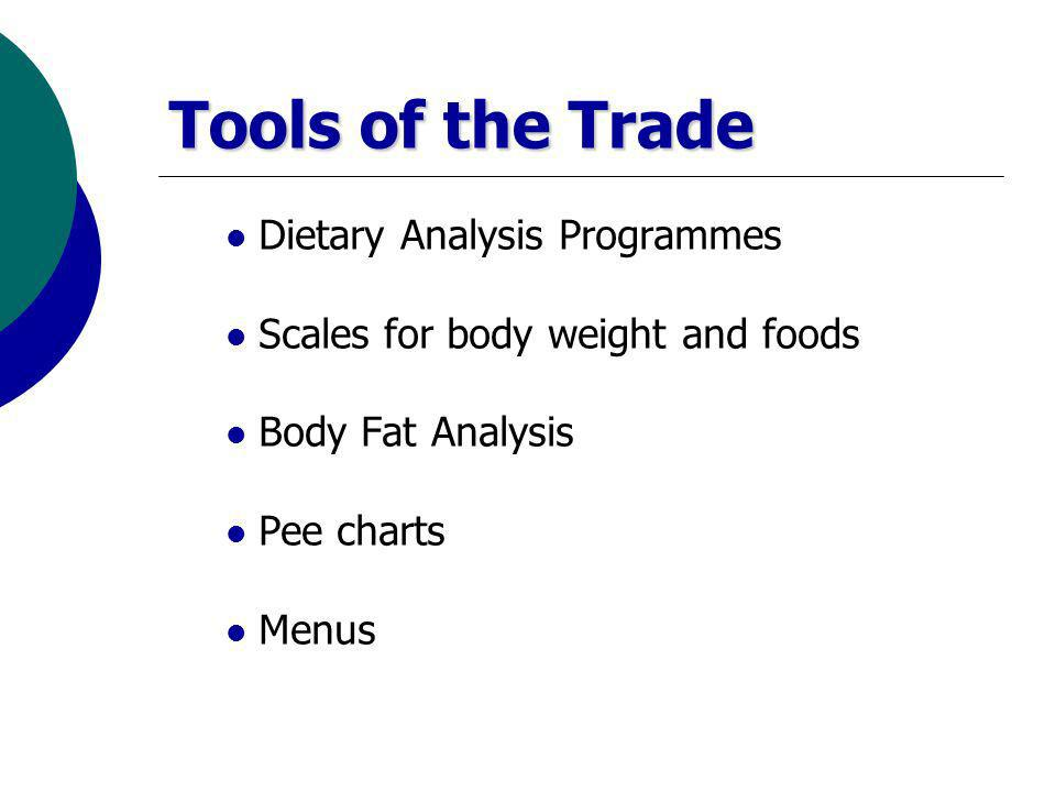 Tools of the Trade Dietary Analysis Programmes Scales for body weight and foods Body Fat Analysis Pee charts Menus