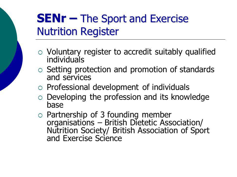 Route to Registration Dietetics Sport & Exercise Nutrition Sport & Exercise Nutrition Science Appropriate further study and professional experience in Sport and Exercise Nutrition Self Assessment Pre Assessment Assessment SENr Registration