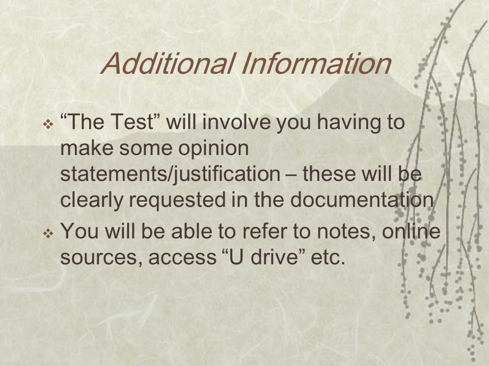 Additional Information The Test will involve you having to make some opinion statements/justification – these will be clearly requested in the documentation You will be able to refer to notes, online sources, access U drive etc.