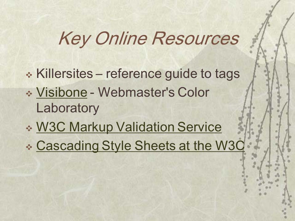 Key Online Resources Killersites – reference guide to tags Visibone - Webmaster's Color Laboratory Visibone W3C Markup Validation Service Cascading St
